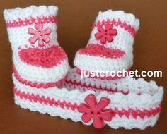 Free crochet pattern for baby boots & headband http://www.justcrochet.com/headband-booties-usa.html #justcrochet