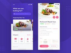Restaurant Finder App designed by Saepul Nahwan. Android App Design, App Ui Design, Android Apps, Restaurant Finder, Restaurant App, App Design Inspiration, Design Ideas, Book Bar