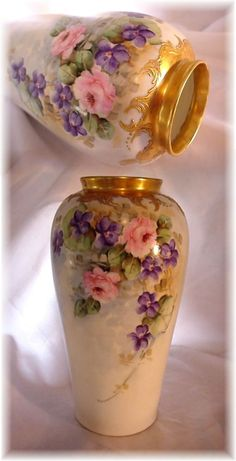"ANTIQUE BAVARIA GERMANY 10"" VASE HAND PAINTED PINK ROSES AND PURPLE VIOLETS GOLD"