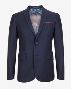 Wool and cashmere-blend blazer - Navy | Blazers | Ted Baker UK