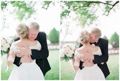 Father and daughter first look at wedding at Carnton Plantation in Franklin, Tennessee. Photographed by Julie Paisley Photography.