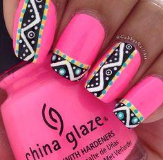 Neon tribal nails