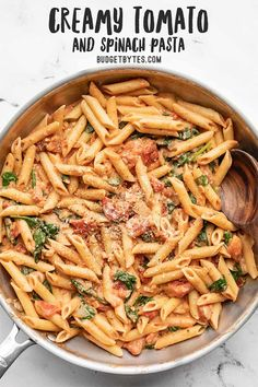 Easier than a box meal, this creamy tomato and spinach pasta is also more flavorful and delicious. 100% real ingredients. Perfect for busy weeknights!Budetbytes.com Veggie Recipes, Pasta Recipes, Dinner Recipes, Cooking Recipes, Healthy Recipes, Budget Recipes, Dinner Ideas, Budget Freezer Meals, Frugal Meals