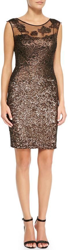 #dresses   Kay Unger New York Metallic Lace-Yoke Cocktail Dress