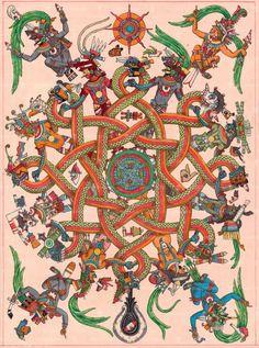 Mexica Heart — This painting metaphorically describes Ometeotl. Aztec Symbols, Mayan Symbols, Viking Symbols, Egyptian Symbols, Viking Runes, Ancient Symbols, Large Prints, Fine Art Prints, Aztec Culture