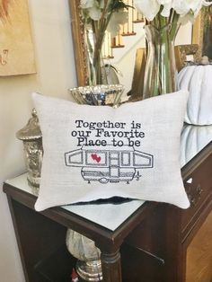 Decorative Home Decor . Camper & RV Décor . Burlap Throw Sofa Pillow . Rustic Home Decorating . Pop Up Tent Camper Pillow . Camping Theme Wedding Gift . Couples Snowbird Gift . Together is our Favorite Place to Be Quote Find more Pop Up Camping Decor here: https://www.etsy.com/shop/MakingSomethingHappy?ref=hdr_shop_menu&search_query=Pop+up Looking to add a name? See this listing: https://www.etsy.com/listing/487734555/pop-...