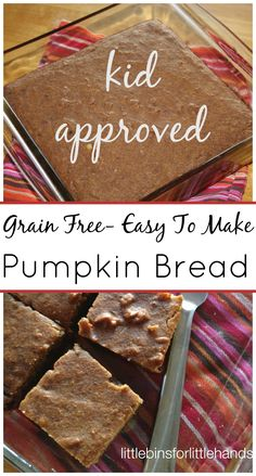 Grain Free Easy Coconut Flour Pumpkin Bread Kids Love. Easy to make pumpkin bread with coconut flour for those with gluten allergies or prefer grain free baking. Kid approved.