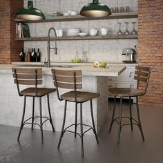 Amisco Dock Swivel Metal and Wood Counter Stool - Free Shipping Today - Overstock.com - 17754586 - Mobile