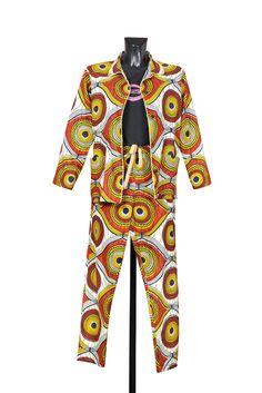 Completo modello pigiama, total wax print. Shop Saman by Susanna Brandolino.