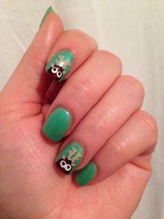 Christmas nail art, reindeer nail art #christmas #reindeer