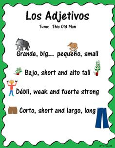 Spanish Adjective Song from Spanish the easy way! on TeachersNotebook.com -  (18 pages)  - Learn Spanish adjectives easily with a song!  Do you still find yourself singing the alphabet song when looking something up in a dictionary?  What about using a song or rhyme to remember which months have 30 or 31 days?  We all have learned this way!  An