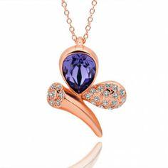 AEKK 18KGP Crystal Amethyst Beautiful Gem necklace'  Adjustable Ring