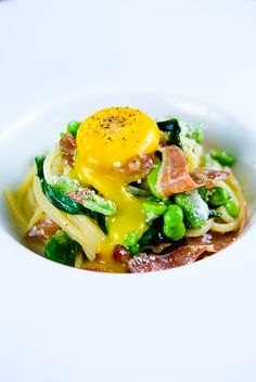 """Spaghetti """"Carbonara"""" with Duck Prosciutto, Fava Beans & Ramps"""