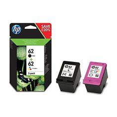 cool HP 62 2-pack Black/Tri-color Original Ink Cartridges - Cartucho de tinta para impresoras (Negro, Cian, Magenta, Amarillo, HP, HP ENVY 5540 All-in-One; HP ENVY 5640 All-in-One; HP OfficeJet 5740 All-in-One; HP ENVY 7640 All-in-)