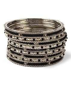 Loving this Black & Ivory Joan Bangle Set on #zulily! #zulilyfinds