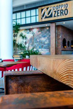 Doppio Zero restaurant design by Design Partnership. Counter Design, Environmental Design, Interior Photography, Hospitality Design, Mauritius, Design Agency, Restaurant Design, Outdoor Furniture, Outdoor Decor
