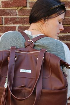 How to Choose the Best Diaper Bag, with Lily Jade - the Shaylee Bag in Brandy - it converts to a backpack!! @lilyjadeco