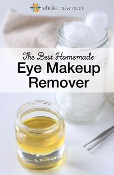 "The ""BEST"" Homemade Eye Makeup Remover--Easy and Effective!: I tried a bunch of Homemade Eye Makeup Removers and this one worked the best. Ditch the toxins, save money, and make it yourself! Make Natural, Natural Eyes, All Natural Skin Care, Homemade Makeup Remover, Diy Natural Makeup Remover, Coconut Oil Makeup Remover, Best Eye Makeup Remover, Diy Makeup Remover Wipes, Chemical Free Eye Makeup Remover"