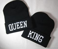 Queen & King Beanies for Couples with Custom by TheCoutumeShop