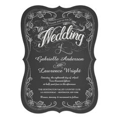 Ornate Chalkboard Bistro Art Wedding Invitations