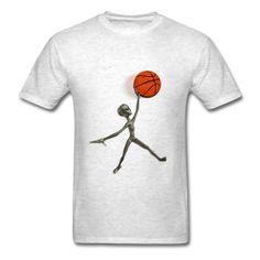 Alien Basket Jump T-Shirt #Tshirt #Alien #Basketball #Extraterrestrial #GreyAlien #Roswell Classic-cut standard weight t-shirt for men, 100% pre-shrunk cotton, Brand: