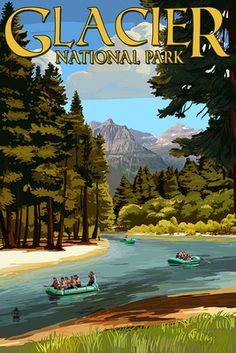 Glacier National Park, Montana - River Rafting - Lantern Press Artwork