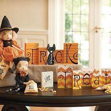 Trick or Treat Blocks Halloween Holiday and Seasonal Home Decor Mantel Table New