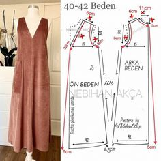 Dress Sewing Patterns, Sewing Patterns Free, Clothing Patterns, Long Dress Patterns, Simple Dress Pattern, Fashion Sewing, Diy Fashion, Fashion Dresses, Fashion Tips