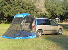 The TailVeil is a vehicle tent that uses the lift-gate to support the system. Suv Camping, Camping Ideas, Camper Caravan, Road Trippin, Rv Living, Outdoor Life, Campervan, Restore, The Great Outdoors