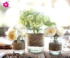 rustic wedding centerpieces ideas: Decorate your mason jars with bakers twine and add gorgeous flowers to finish the look. Easy to do and great rustic wedding decorations Mason Jar Centerpieces, Rustic Wedding Centerpieces, Wedding Table, Diy Wedding, Mason Jars, Wedding Flowers, Dream Wedding, Wedding Decorations, Wedding Day