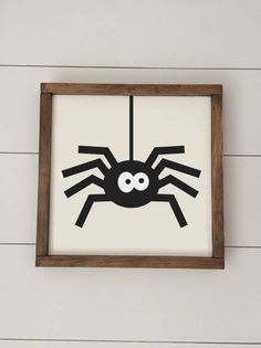 Spider - Handmade Wood Framed Sign  Such a cute, rustic touch for your Halloween decorations!  Finished sign dimensions 9.5 x 9.5. I can also make this sign in a larger 12x12 format. Just ask for a custom order!  All signs include a sawtooth hanger on the back for easy hanging. The frame is also wide enough that the sign will sit on its own. Everything is painted (no vinyl!)  **All signs are hand made to order and are made from raw materials. Each sign will vary slightly from the photo shown…