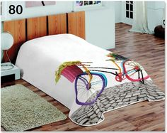 Biela prikrývka na posteľ s motívom bicykla