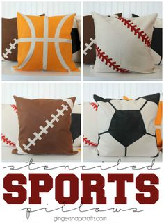 DIY Stenciled Sports Pillows at GingerSnapCrafts.com