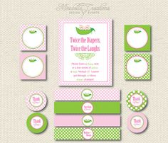PRINTABLE PARTY COLLECTION Two Peas in A by MirabelleCreations