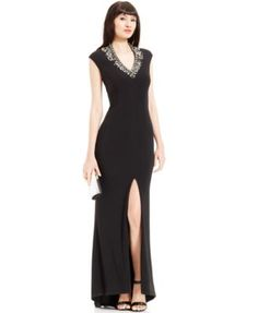 6885cb3767709 Vince Camuto Cap-Sleeve Embellished Front-Slit Gown   Reviews - Dresses -  Women - Macy s