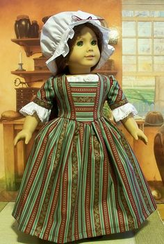 Red and green striped Colonial work dress  by Keepersdollyduds, via Flickr