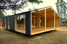 This Pin was discovered by Lor Prefab Cabins, Prefabricated Houses, Prefab Homes, Shed Homes, Tiny House Design, Small House Plans, Cabana, House In The Woods, Little Houses