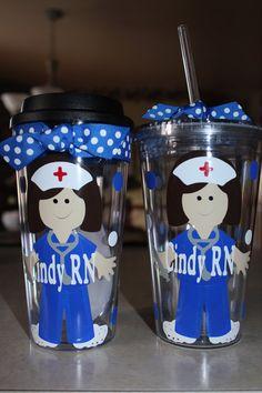 Personalized Nurse Acrylic Tumbler Gift Set by jaylillie on Etsy, $25.00