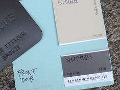 Love these color swatches! Aqua for the front door, dark grey for shutters, and tan for the siding :)