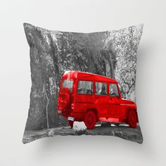 Red Car Throw Pillow by Angelika Kimmig - $20.00