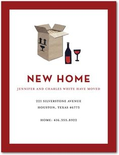 Moving Announcement Postcards Wine Box - Front : Rich Red