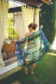 Pareo vegan silk scarf sarong butterfly wings by CostureroReal