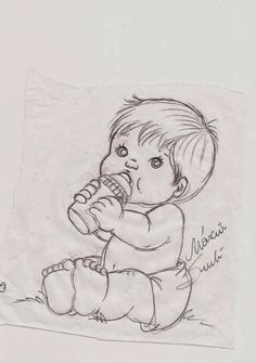 Girl Drawing Sketches, Art Drawings Sketches Simple, Baby Drawing, Pencil Art Drawings, Cute Drawings, Baby Coloring Pages, Coloring Books, Baby Sketch, Fabric Painting