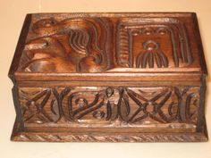 Vintage Hand Carved Wooden Box with Key El Salvador Over 40 years old!