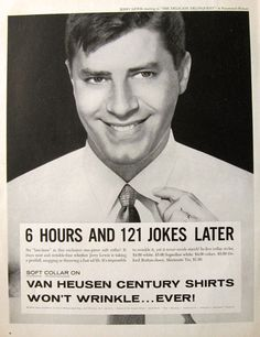 Vintage ads featurning classic celebrities | 1957 Van Heusen Shirts Ad ~ Jerry Lewis, Vintage Ads with Celebrities