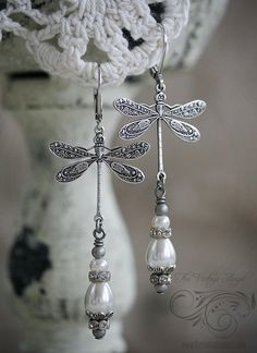 Vintage Silver Dragonfly Earrings