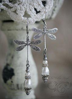 Vintage Silver Dragonfly Earrings