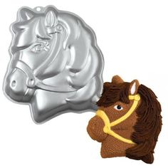 This party pony cake pan by Wilton will help you make a cake in the shape of a pony. This horse shaped cake pan will take any 2 layer cake mix to make a birthday cake shaped like a cute little pony. 3d Birthday Cake, Horse Birthday Parties, Birthday Ideas, Farm Birthday, Cowgirl Birthday, Cowgirl Party, Cake Baking Tins, Cake Tins, Baking Pan