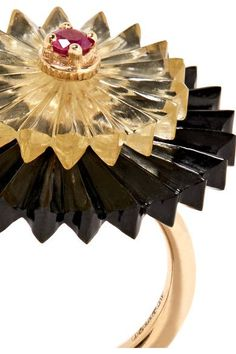 Alice Cicolini - Summer Snow Dark 9-karat Gold Multi-stone Ring - 6