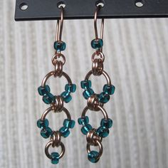 Bronze and Teal Beaded Chainmaille Earrings - NA-541. $25.00, via Etsy.